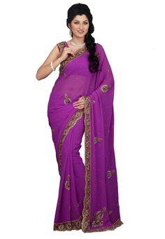 Magenta Color Lezar Chiffon Designer Saree