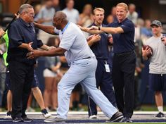 Hall of Famer Charles Haley, center, is seen on the field before a game between the Dallas Cowboys and New York Giants at AT&T Stadium on Sept. 11, 2016 in Arlington, Texas.