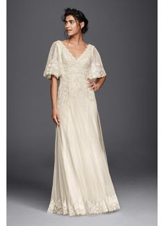 Melissa Sweet Wedding Dress with Flutter Sleeves MS251133