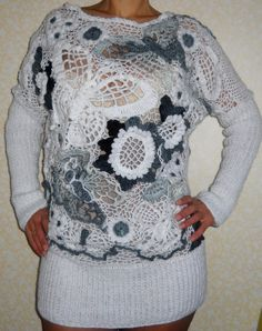NEW Handmade Hand knitted sweater in white and gray in Irish lace style. Beautiful butterflies and flowers.