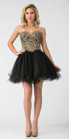 69c1684c50a Starbox USA S6411 Strapless Neckline Applique Bodice Homecoming Dress  Black Gold