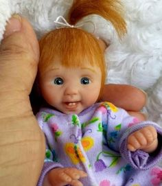 Miniature OOAK hand SCULPTED newborn BABY girl clay ART doll toy Dawn McLeod 5""
