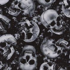 Timeless Treasures House Designer - Wicked Eve - Tossed Skulls in Black