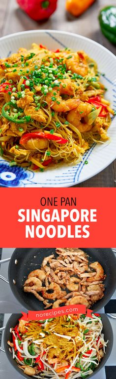 Singapore Noodles are an easy one-pan stir-fry is loaded with shrimp veggies and rice noodles. This version is way better than Chinese take-out.