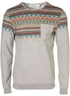 Light Grey Aztec Print Sweatshirt