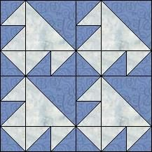 Block of Day for February 04, 2016 - Flying T's-strip piecing-The pattern may be downloaded until:Sunday, February 28, 2016.