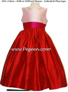red and pink flower girl dresses in silk Red Flower Girl Dresses, Girls Dresses, Red And Pink, Hot Pink, Red Wedding, Wedding Things, Wedding Stuff, Valentines Day Weddings, Custom Dresses