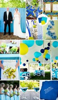 lime green and blue weddings - Google Search