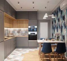 Kitchen Room Design, Kitchen Cabinet Design, Modern Kitchen Design, Kitchen Layout, Home Decor Kitchen, Interior Design Kitchen, Home Kitchens, Small Modern Kitchens, Small Apartment Interior