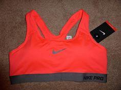 New! Size M, Nike Pro Dri-FIT Sports Bra, Gray & Neon Orange, Padded Cups #Nike #SportsBrasBraTops
