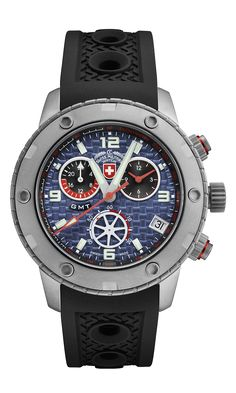 2016 Model, M's Swiss Military Watch GMT chronograph RALLYE GMT, ETA cal. G10.962 Swiss Made quartz mvt., 4 jewels, blue dial, sandblasted stainless steel case, screw-down crown, sapphire crystal, silicone strap (length 225mm, width 22mm, thickness 4mm; pin buckle). Case: diameter 44mm, thickness 13mm, 20atm water resistant. Weight: 118gr. HS Code: 9102.1100.125 Men's Watches, Sport Watches, Watches For Men, Stainless Steel Case, Chronograph, Clocks, Quartz, The Incredibles, Military