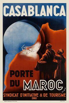 Vintage Art Deco French Casablanca Poster 1920s Morocco Print Picture Wall Retro