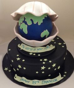 The World is my Oyster topped Birthday Cake - by Nada's Cakes Canberra