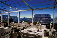 Panoramic views at the award winning Aroma Restaurant, a Michelin Star recipient, at Palazzo Manfredi in Rome, Italy