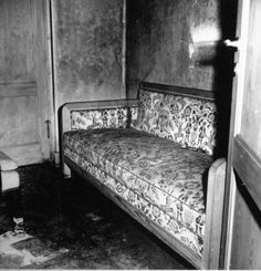 Sofa upon which Adolf Hitler's mistress Eva Braun is alleged to have shot herself before Hitler committed suicide in his bunker under the Reichschancellery.