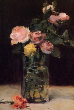 Roses In A Glass Vase by Edouard Manet