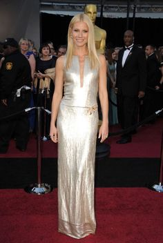 <p>Gwyneth Paltrow in Calvin Klein Collection pulled off casual elegance in a silver gown with an illusion neckline. <em>(Photo: Getty Images)</em> </p>