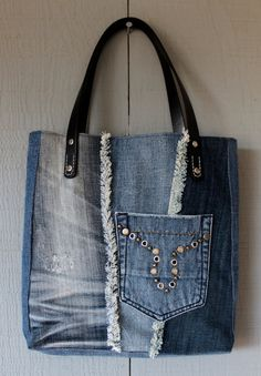 Denim Frayed Patch Tote with Outside Pocket, Leather Straps, Two Interior Pockets and Lined with a Floral Inspired Cotton 266711994 by AllintheJeans on Etsy