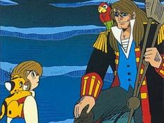 Treasure Island : Jim , Bimbo, John Silver & his parrot Robert Louis Stevenson, Old Anime, Animation, Cartoon Characters, Fictional Characters, Treasure Island, Me Me Me Anime, Cartoon Network, Childhood Memories