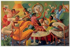 """Room Ful'A Sistahs"" by Ernie Barnes"