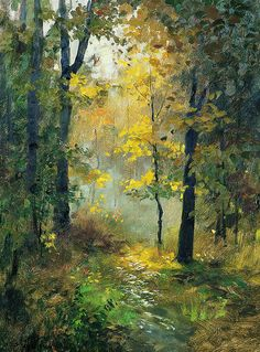 Oil Painting With Palette Knife Info: 2643982252 Watercolor Trees, Watercolor Landscape, Abstract Landscape, Landscape Paintings, Watercolor Paintings, Painting Abstract, Acrylic Paintings, Autumn Painting, Tree Art
