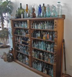 collection of old bottles Old Glass Bottles, Apothecary Bottles, Antique Bottles, Vintage Bottles, Bottles And Jars, Antique Glass, Perfume Bottles, Vintage Perfume, Mason Jars