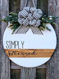Modern Door Sign Front Door Decor Simply Blessed Door Hanger Door Hanger Wreath For Front Door Wood Wooden Crafts, Diy And Crafts, Adult Crafts, Decor Crafts, Paper Crafts, Christmas Wreaths, Christmas Crafts, Christmas Door Hangers, Fall Wreaths