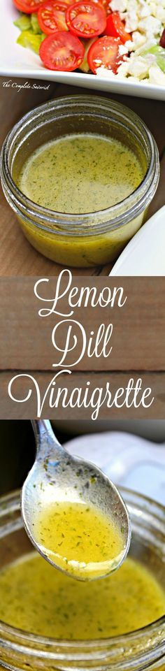 Lemon Dill Vinaigrette ~ leave out the sugar! - Fresh and light, lemon dill vinaigrette is the perfect dressing for any salad with its herbaceous and citrus notes ~ The Complete Savorist Salad Bar, Soup And Salad, Sauce Recipes, Cooking Recipes, Dill Recipes, Cooking Games, Salad Dressing Recipes, Vinaigrette Dressing, Healthy Recipes