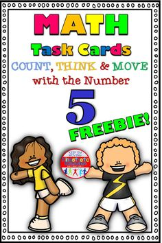 Count, Think & Move with the Number 5  Are you tired of the same old math centers? Do your kids need to get up and move? Do you love it when your kids are loud, busy, and engaged? Then this number 5 workshop is just what you need!  Great for visual, auditory, tactile & kinesthetic learners -  42 task cards in all. Kids get to count, think, move, trace, tally, build, discuss, cut, draw, write and more, while learning all about the numb Teaching Numbers, Teaching Math, Elementary Teacher, Elementary Schools, Kinesthetic Learning, Love Teacher, Kids Moves, Math Task Cards, Number 5