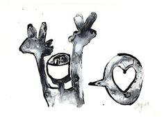 'Love' - acrylic and ink