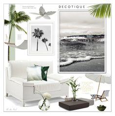 """Subtle Ocean Patio Decor"" by theseapearl ❤ liked on Polyvore featuring interior, interiors, interior design, home, home decor, interior decorating, Frontgate, Bloomingville, Quorum and OFFECCT"