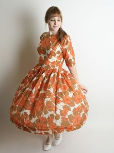 Vintage 1950s Dress Pretty Tangerine and Coffee Brown Day by zwzzy