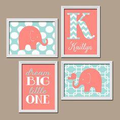 Coral Aqua Chevron Monogram Child Name Elephant Bird Polka Dot Dream Big Little One Nursery Artwork Set of 4 Prints Baby Girl WALL ART