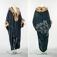 Evening coat Date: 1913 Culture: French Medium: silk, fur. Front