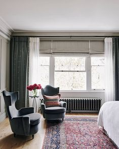 Bedroom Seating - After a complete gut job, interior designer Jane Gowers created a light filled family home - real homes on HOUSE by House & Garden Living In London, London House, Beautiful Blinds, Beautiful Homes, Beautiful Places, Curtains And Radiators, Zen, Plain Curtains, Wide Window Curtains