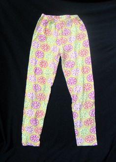 GYMBOREE Leggings, Yellow Printed Citrus Cooler 100% Cotton, Size 8 #Gymboree