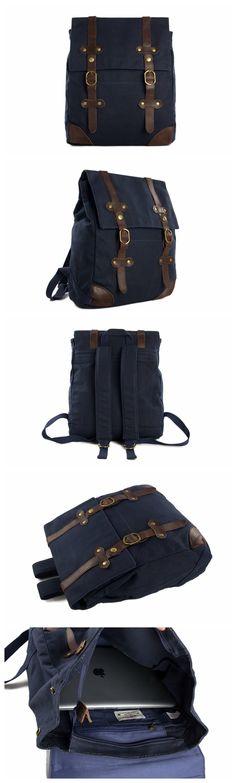 Men's Canvas Leather Hiking Travel Backpack Rucksack School Bag