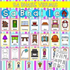 """posters as gaeilge based on the theme of """"Sa Bhaile"""" Also included: worksheets """"Sa Bhaile"""" header School Resources, Teacher Resources, Irish Gaelic Language, Poetry Anthology, Job Chart, Language School, Classroom Rules, School Posters, Classroom Inspiration"""