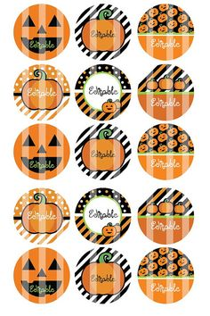 Editable 4x6 JPEG - Halloween Punky - 1 inch Round Digital images for bottle cap pendants, cupcake toppers, magnets, etc.