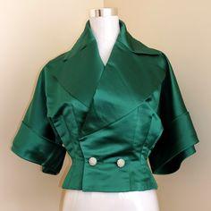 Vintage 1940s green satin jacket by Monte Sano & Pruzan