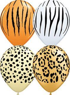 Qualatex Safari Assortment Jungle Print Latex Balloons choose 5 12 25 or 50 Balloon Tassel, Love Balloon, Balloon Garland, Balloon Bouquet, Balloon Arch, Africa Theme Party, Jungle Theme Parties, Safari Party Decorations, Safari Birthday Party