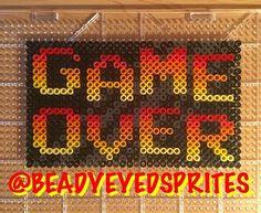 Game Over perler beads by beadyeyedsprites Hama Beads, Perler Bead Art, Fuse Beads, Perler Patterns, Mosaic Patterns, Beading Patterns, Pixel Art, Perler Earrings, Lego Mosaic
