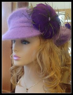 TOP IT #purple #feathers in your #hat #newspaper #cap $24.99 #madeinUSA #ParisFashionWeek Ladies Wool Winter Hat, Felted Cap Violet Lavender Purple Color Feather Appliqué