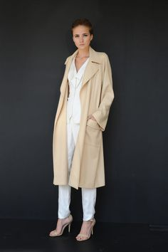 Pamela Rolland SS2013 - intrigued by the loose, bathrobe like trench over those sharp suiting separates.