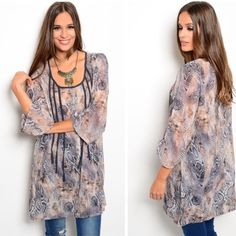 """MAKE AN OFFER This woven top features 3/4 sleeves, scooped neck and abstract print all over. Sheer. Gorgeous. Goes easily from day to night. 100% polyester. The size small measures L 31"""" B 18"""" W 19"""".  small - 0 medium - 2 large - 0 Please comment size needed below and I will make a listing just for you!  If you would like a bundle allow me to make one for you instead of using the automated feature  NO PAYPAL NO TRADES. Price firm unless bundled. All sales final. Tops Tunics"""