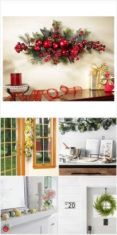 Here are 16 awesome ideas for diy Christmas decorations. Some of the material I got from a dollar tree store. Christmas Swags, Simple Christmas, All Things Christmas, Christmas Home, Rustic Christmas, Christmas Holidays, Christmas Ornaments, Christmas Projects, Holiday Crafts