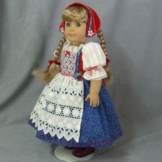 AUCTION LINK ~ SWEDISH DREAMS FOR KIRSTEN ~ Red White Blue Dress Set ~ Dirndl for American Girl, by idreamofjeannemarie via eBay, Opening Bid $75.00 - SOLD 4/7/15 $135.00 (22 bids/ winner e***r)