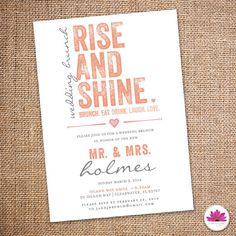 Rise and Shine Wedding Brunch Invitation 5 X 7  by EventswithGrace