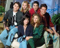 Friends Jennifer Aniston Courteney Cox Lisa Kudrow Matthew Perry David Schwimmer TV Series Movie Cast Signed Photo Autograph Reprint Poster
