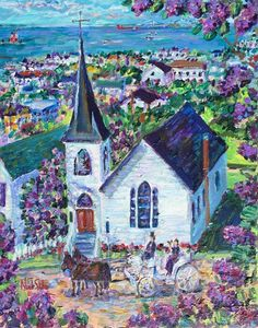 "Noel Skiba wins 1st place in Mackinac Island's 2015 Lilac Festival poster contest, ""Lilacs by Trinity Episcopal Church.""  Her third time in winning this award, having won in 2013 and 2010.  The church has been holding services on Mackinac Island since 1837, when a bishop preached in the Mission Church.  In 1873, a parish was organized and in 1882 this church building was constructed. Its furnishings include an altar of hand-carved walnut and two chancel chairs made by soldiers at the fort."